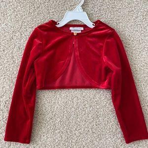 Red Velvet Shrug/Bolero, Size 5